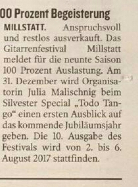 9. Internationales Gitarrenfestival Millstatt